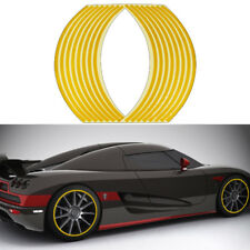 16 Strips Yellow Reflective Sticker Car Motorcycle Wheel Hub Tire Rims Sticker
