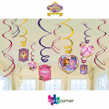 SOFIA THE FIRST PARTY SUPPLIES SWIRL 12 HANGING DECORATIONS PARTY DECORATIONS
