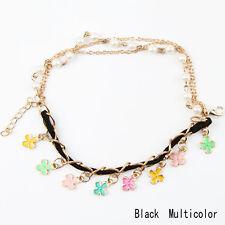 Bracciale chic nero dorato con perle bianche e fiori / Pearls flowers bracelet