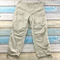 L L Bean Womens Pants size 16 Light Tan Lightweight Drawstring Hem Roll Up Tabs