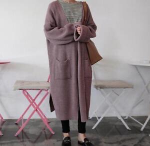 Women's Cardigan Sweater Knitted Long Sleeve Jumper Oversized Loose Outwear Coat