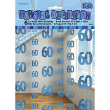 6 Happy 60th Birthday Blue Sparkle Prismatic 5ft String Party Decorations