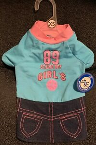 NWT PETELLIGENCE DOGIE BLUE BASKETBALL GIRL'S DRESS / T-SHIRT  EXTRA SMALL