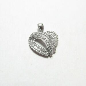Estate 14K White Gold Baguette And Single Cut Diamond Heart Pendant 1.00 Ct