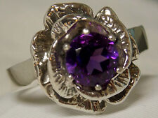 NATURAL 1.30ct purple Amethyst flower ring antique 925 sterling silver size 6.5