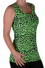 Womens Sleeveless Scoop Neck Casual Animal Leopard Print Long Vest Tank Tops
