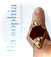 LIA SOPHIA RED CARPET *CAT'S EYE RING* BROWN & CLEAR CRYSTALS - SZ 6 - $150/RARE