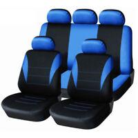 Black&Blue Car Seat Cover Set 9PCS Perfect Full Coverage 5-seats Car Breathable