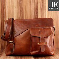 #808 LECONI Messenger Bag Leder Collegetasche Herren Damen braun LE3032 B-Ware