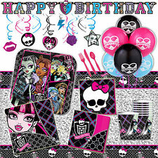 Deluxe Monster High Girls Birthday Party Pack Decoration Kit For 16