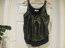 Modern and Unique BENSONI Top,  Gold Metallic Shell and Black Silk Lining   Sz 4