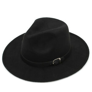 Kid Boys Girls Child Felt Fedora Hat Trilby Wool Blend Panama Cap Leather Buckle