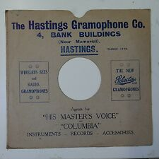 "10"" 78rpm gramophone record sleeve HASTINGS GRAMOPHONE CO"