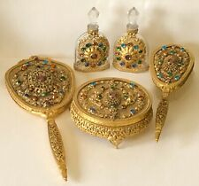 Antique Brass Filigree Jeweled Gem Encrusted Lady Dresser Vanity Perfume 5Pc Set