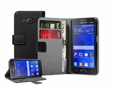 Wallet BLACK Leather Flip Case Cover Pouch for Samsung Galaxy Core 2 / +2 FILM
