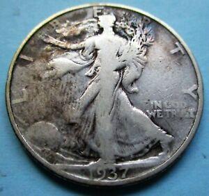 1937-D LIBERTY WALKING 1/2 DOLLAR. VG CONDITION. RAW, UNCERTIFIED & CIRC. (C)