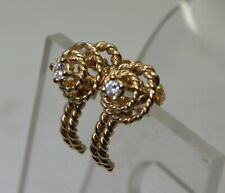 Unique Estate 14K Gold Rope Style .08 Ct Solitaire Diamond Stick/Stud Earrings