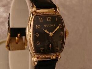 Bulova 1948 MINUTE MAN vintage manual wind watch 10BC Black dial Unusual Special