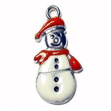 5 Pieces 13x25mm Snowman Zinc Alloy Enamel Charm Pendants - A0531