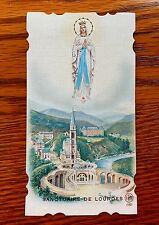 ANTIQUE DIE CUT HOLY CARD OUR LADY OF LOURDES PROTECTING HER SANCTUARY