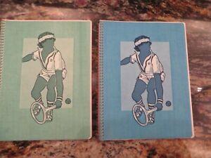2 1970 TOUCHABLES textured spiral bound theme School NOTEBOOK Tennis Match