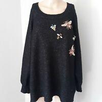 Loralette by Avenue 2X Sweater Embellished Bees Rhinestone Grandma Granny Chic