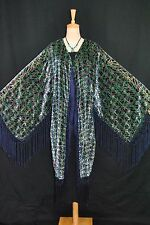 Art to Classic Color Eastern Flower Burnout Velvet Fringe Jacket Duster Kimono