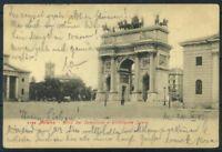 Pamplona 1905 Cartolina 100% usata con 1 francobollo, animata, Arco del Sempione