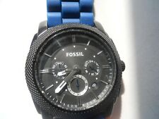 Fossil chronograph men's blue rubber band,quartz,Analog & battery watch.Fs-4487