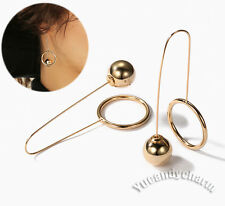 Face Slimming Made in Korea Gold Plated Back Ball and Ring Long Hook Earrings