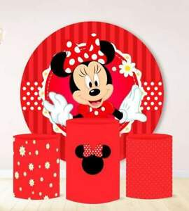 Round Circle Backdrop Minnie Mouse Red Background Party Table Cover Banner