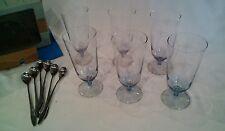 retro dessert set atomic starburst parfait glass boxed + spoons CROWN CORNING pc