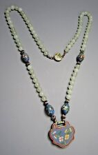 Fine China Chinese Pale Green Hard Stone Necklace w/ Cloisonne Spacers & Pendant