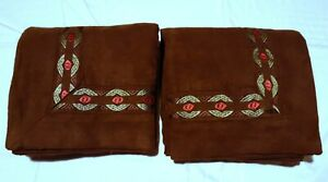 Croscill Home 2 PILLOWCASES Embroidery Zipper Brown Regular Size 29x29 Chocolate