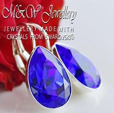 925 Silver Earrings Pear Fancy Stone Majestic Blue 14mm Crystals From Swarovski®
