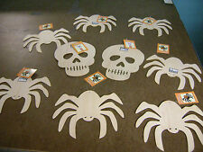 Halloween Spider & Skull Finish It Unfinished Wood Ornament Decoration Set 9