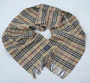 Vintage Burberry Beige Nova Check Wool Scarf