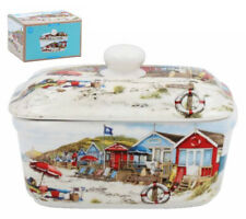 Seaside Beach Butter Dish with Lid Ceramic Dining Table Serving Tureen Sandy Bay