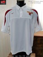 NCAA USC Trojans Nike Dri-Fit White Red Golf Polo Shirt Team Apparel Sz XL
