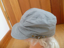 MONSOON ACCESSORIZE MID GREY SIDE STRAP PEAKED HAT CAP ONE SIZE BRASS DETAIL NEW