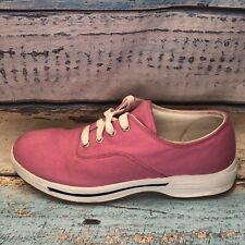 LL Bean Women's Canvas Boat Tennis Shoes Pink US Size 9 M Lace Up