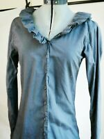Johnny Was Pete Greta Womens Slate Blue Ruffle V Neck Top Pima Cotton Size Small