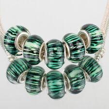 Green forest 5pcs SILVER MURANO bead LAMPWORK fit European Charm Bracelet DIY