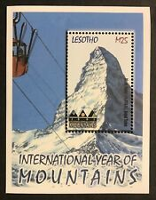 LESOTHO MT. RAINIER YEAR OF THE MOUNTAINS STAMPS SOUVENIR SHEET 2002 MNH SCENERY