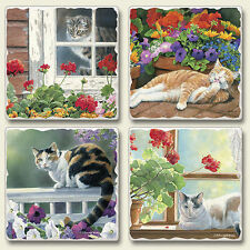 Mixed Absorbent Stone Coasters Set of 4 Lazy Day Cats Kitty Cottage Flowers