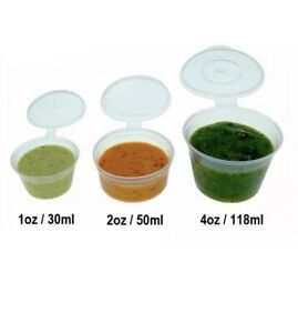 Hinged Lid Clear Plastic Souce Containers Cups Pot Tub Deli Takeaway x 1000