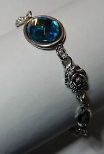 VICTORIAN STYLE TURQUOISE BLUE ACRYLIC CRYSTAL DARK SILVER PLATED ROSE BRACELET