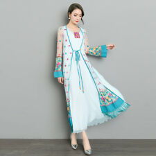 Women Embroidery Floral Mesh Long Cardigan Shrug Tassels Bohemia Sunscreen Coat
