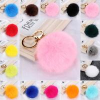 Faux Fur Pom-pom Key Chain Bag Charm Fluffy Puff Ball KeyRing Bag Accs.