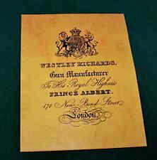 Westley Richards 170 nuovo Bond St. PISTOLA Maker riproduzione carta Gun Case etichetta